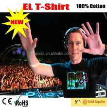EL Light flash equalizer t-shirt/Cotton el led t-shirts with custom design