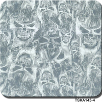 TSAUTOP New Style TSKA220-1Grey Flame Skull Hydrographics Water Dipping printing film sale Water Transfers