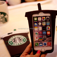 For iphone 6 plus 3D designed silicone case, for iphone 6+ 5.5 inch coffe cup cover case