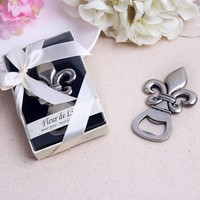 "Quality Promise+ Wedding Favors""Fleur de Lis"" Pewter-Finish Wine Bottle Opener For Guest+100sets/LOT+FREE SHIPPING"