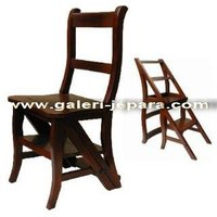 Antique Reproduction Furniture - Library Chair Step - Mahogany Wooden Furniture