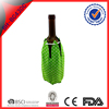 green nylon wine ice cooling pack bottle cooler with CMC material with draw cord