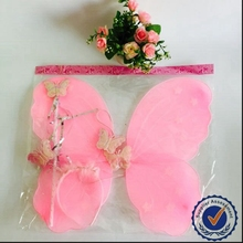 Girls fancy cute silk fabric made pink fairy butterfly wings cheap three set