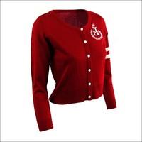 Printing crewneck long sleeve women's cardigan 100% acrylic sweater