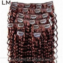 indian natural curly one piece virgin human clip in hair extension