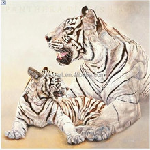 wild tiger family realist style oil paintings custom from photograph