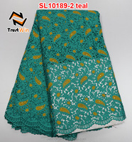 Super quality nigeria guipure chemical lace of SL10189 teal