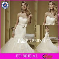 CE214 Luxury Elegant Appliqued Lace Strapless Satin Sash Mermaid Bridal Dress Buttons Down The Back