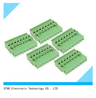PA66 material pcb mount male female 5.0mm pitch screw terminal block plug -in type with green color
