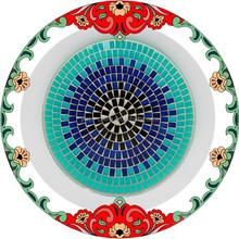 DIa 30cm Oceam Style Decorative Silvery Seashell Mirror Mosaic Glass Fruit Plate
