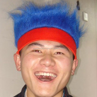 dark blue crazy hair with red headband crazy hair