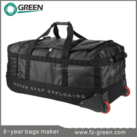 Duffel bag with trolley and with secret compartment