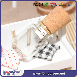 Functional and lovely wishing bottle glass usb flash drive, usb flash drive gift box