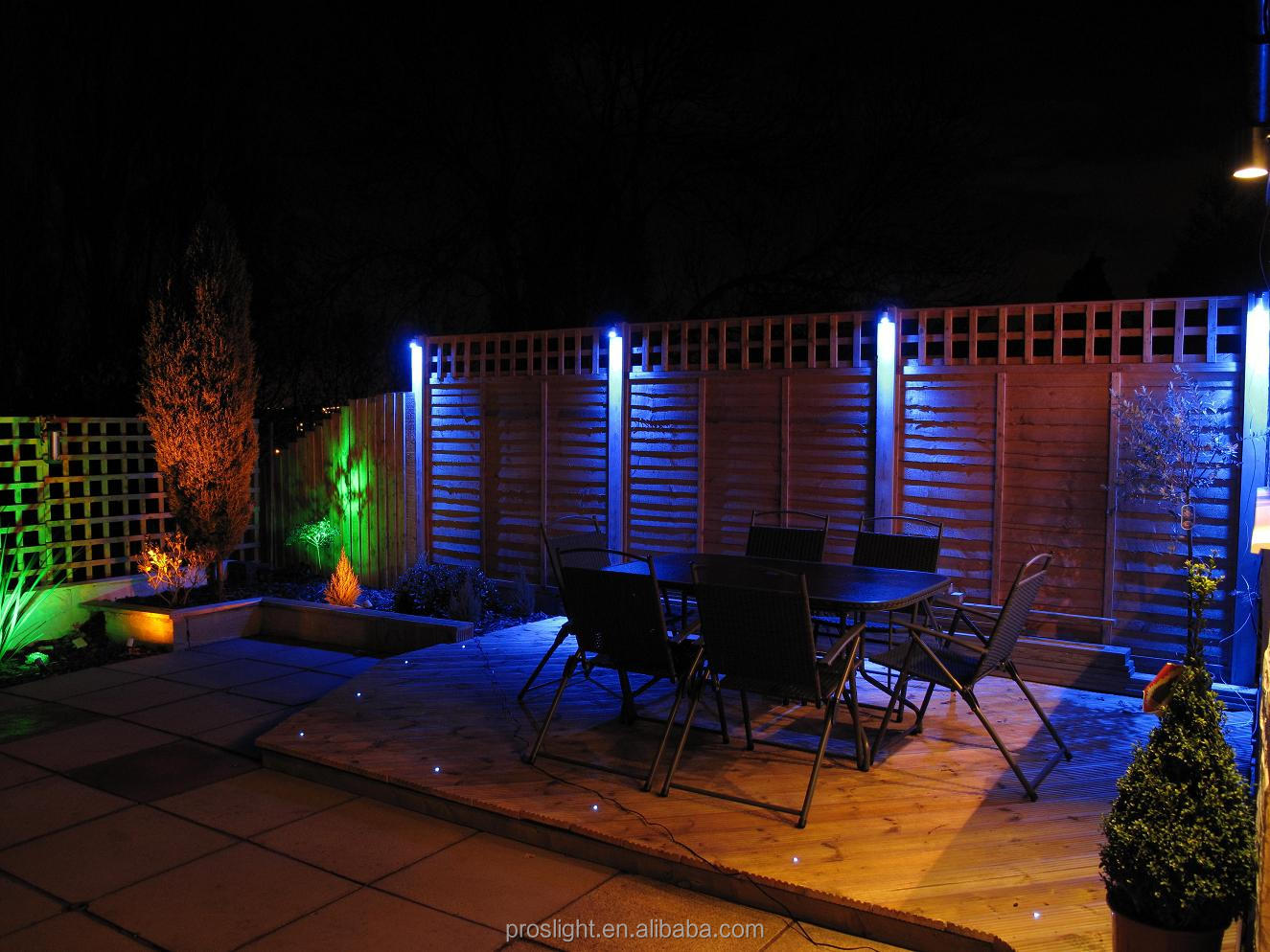 Landscape Lights Around Garden Fount Simple Hit Home Design Ideas