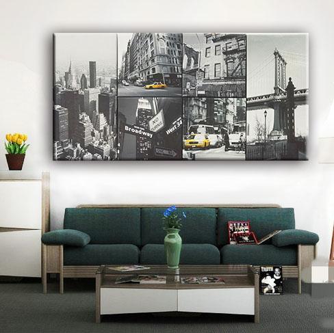 Diseño negro y blanco barato decoración edificios de la ciudad pared foto 6 fotos lienzo pintura del arte