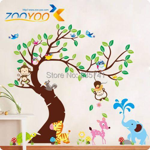 zooyoo original monkey owl tree animal world wall stickers decal