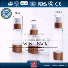 30ml 50ml 100ml clear wooden airless bottle with wooden bottom and wooden cap or clear cap for cosmetic