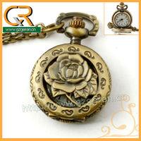 Fashion Festival Gift Women & Men Vintage Hollow Out Romantic Rose Necklace Pendant Retro Antique Quartz Small Pocket Watch1231