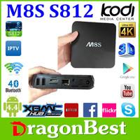 2015 Amlogic Sex Video Google S812 2.0Ghz H.265 4K Bt 4.0 Android 4.4 Quad Core Tv Box M8S