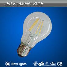 LED filament globe lamp 360 degree glass A19 A60 E27 CE RoHS