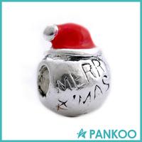 925 Silver Bead Charm European Glaze Merry Christmas Snowman Bead Fit
