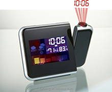 LED colorful weather station projection clock with alarm and snooze function,weather station forecast