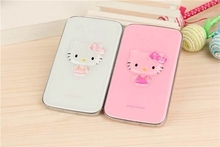 2015 hot selling cute cartoon Hello Kitty portable credit Power Bank 8800mAh External Battery USB Charger for Mobiles