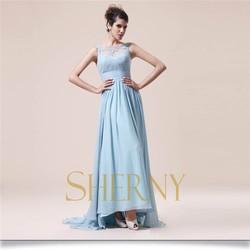 New fashion light blue and pink color elegant chiffon evening dress 2015
