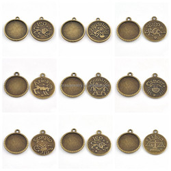 Raw Brass Material All Kinds of Twelve Constellations Carved Pendant Tray Design