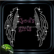 Angel girl with wings rhinestone motif design