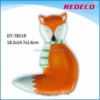 Mini porcelain fox shaped plate