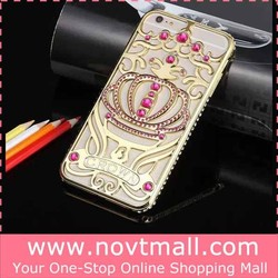 2015 New Arrival Aluminum Bumper Bling Handphone Casing Cover For Apple Iphone 6 4.7 Crystal Crown