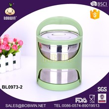 Stainless Steel Material Two Layer Food Carrier With Plastic Handle