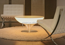 glass top plastic shell modern home furniture led 3D colorful lighing rechargeable bar table
