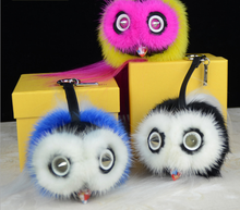 2015 popular Little Monsters real mink with sheep fur ball pendent for bag