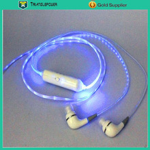 Led light earphone for mobile phone