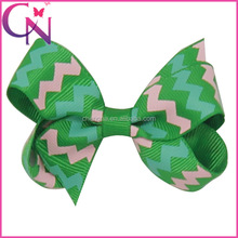 Wholesale Chevron Hair Bow Clip, 2.8 inch Wave Patterned Tiny Ribbon Children Hair Ribbon Bow with Mini Alligator Clip