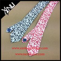 Floral Print Mixed Necktie in Navy Pink Mens Linen Necktie
