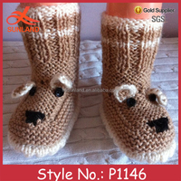 P1146 lovely cute handmade knitted animal dog baby crochet wool shoes