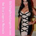 envío de la gota de alta calidad sexy negro bodycon baratos vendaje 2014 vestido