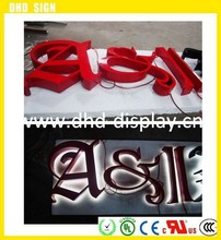 Back lit LED illuminated letter stainless steel border