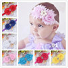 NEW shabby chic pearl flower Baby Headbands Boutique +girls elastic hair bands+hair accessories for kids BTS004