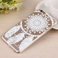 3D Color Painting PC Clear Hard Transparent Crystal Folk Style Dreamcatcher Relief Sculpture Case Cover For iPhone 6 / Plus