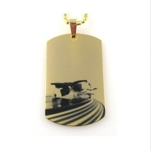 Yiwu Aceon Turntable Deck Record Dog Tag Necklace Pendant Steel Urban Wear Gold DJ Pendant