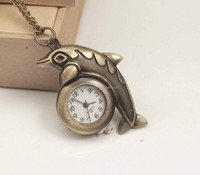 dolphin playing ball necklace pendant Beautiful pocket watch,, factory direct sales