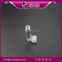 small quantity order mini clear 5ml roll on empty bottle, 100pcs/lot glass essential oil bottles with roller ball
