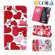 Color printing leather with card slots mobile phone accessory for Micromax eg111