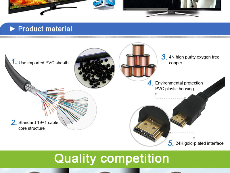 high speed and super quality high quality cable vga rca cable hdmi to 3rca