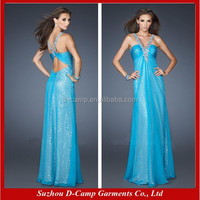 OC-2058 Sexy low back halter neck party long dress chiffon new style turkish long dresses for party