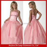 FG-023 Lovely tulle one shoulder fashion design small girls dress 10 year olds girls dress